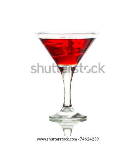 Red martini cocktail with ice cubes isolated on white
