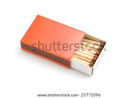 red matchbox isolated on white - stock photo