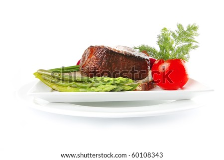 red meat on bread with vegetables on white - stock photo