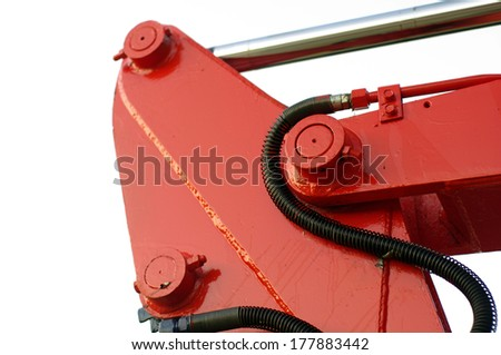 red mechanic parts crane and tractor detail, dozer - stock photo