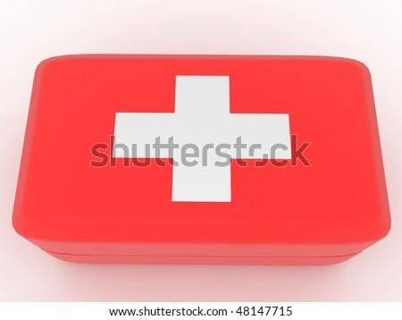 Red medecine kit - stock photo