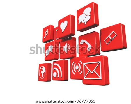Red Media Icons - stock photo