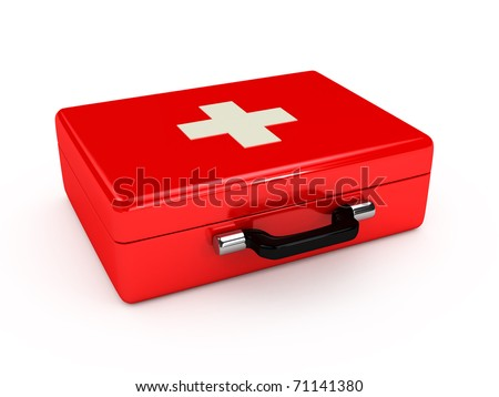 Red medical case over white background. computer generated image
