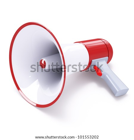 Red megaphone with red button isolated on white background - stock photo