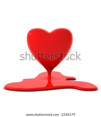 red melting heart - stock photo