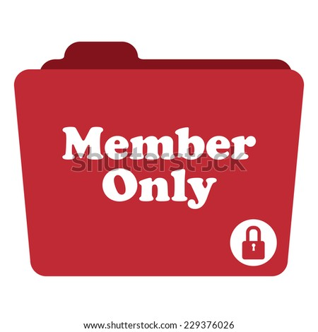 Red Member Only Folder With Lock Sign Icon Isolated on White Background  - stock photo