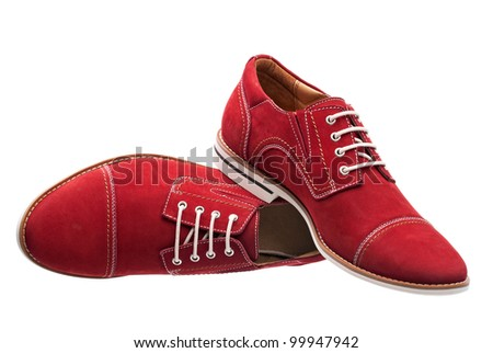 Red men laced shoes isolated over white - stock photo