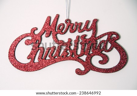 Red Merry Christmas Ornament Isolated - stock photo