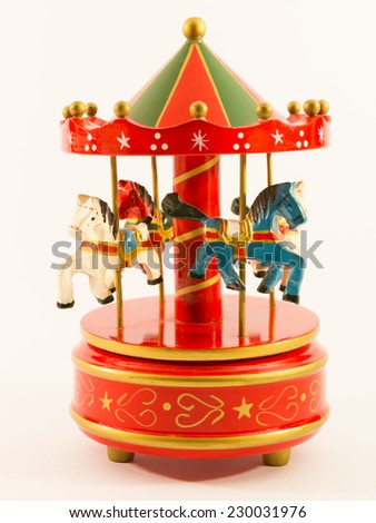 red merry-go-round horse carillon, wooden carouse - stock photo