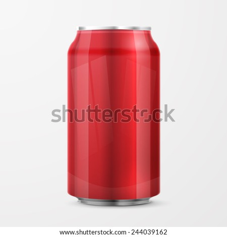 Red Metal Aluminum Beverage Drink Can . Ready For Your Design. Product Packing - stock photo