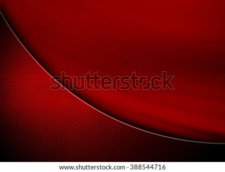red metal background with curve pattern - stock photo