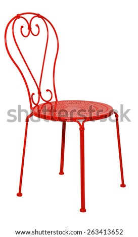 Red metal chair isolated on white background - stock photo