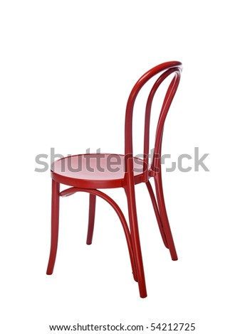 Red metal chair isolated over white background