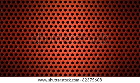 red metal holed or perforated grid background - stock photo
