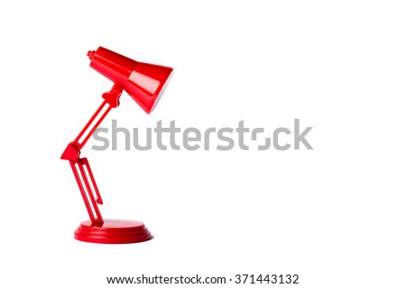 Red metal lamp with a white background - stock photo