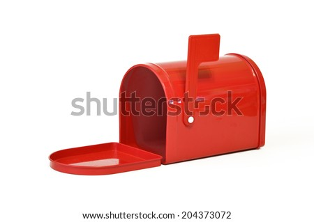 Red metal mailbox on a white background. - stock photo