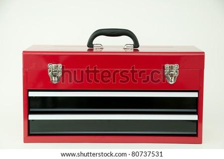 red metal tool box. red metal tool box