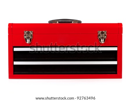 red metal toolbox on a white background - stock photo