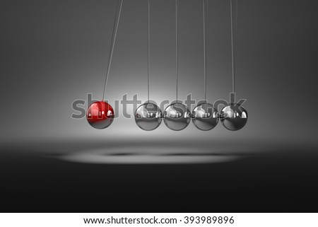 Red Metallic Ball Induce to Movement Metallic Balls Mechanism 3D Illustration