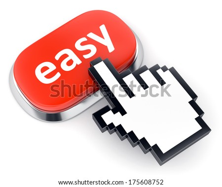Red metallic button with text easy and hand shaped mouse cursor isolated on white background