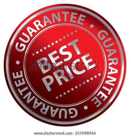 Red Metallic Circle Best Price Guarantee Icon, Label, Banner, Tag or Sticker Isolated on White Background  - stock photo