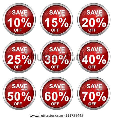 Red Metallic Circle Discount Sticker With Silver Metallic Border For Save 10 - 70 Percent OFF Discount Campaign Isolated on White Background - stock photo
