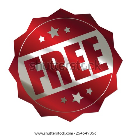 red metallic free sticker, banner, sign, icon, label isolated on white - stock photo