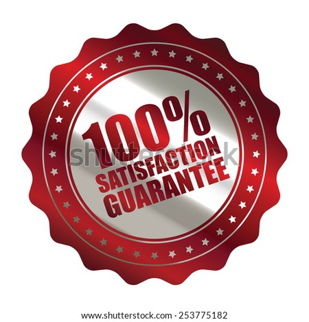 red metallic 100% satisfaction guarantee icon, tag, label, badge, sign, sticker isolated on white  - stock photo