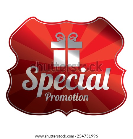 Red Metallic Special Promotion Badge, Icon, Label, Sign or Sticker Isolated on White Background  - stock photo
