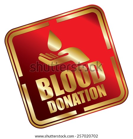 Red Metallic Square Blood Donation Icon, Sticker, Banner, Tag, Sign or Label Isolated on White Background - stock photo