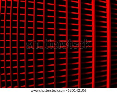 Red metallic stripes abstract glossy background, 3d render illustration