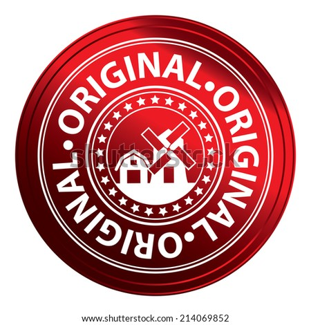 Red Metallic Style Original Icon, Label or Sticker Isolated on White Background  - stock photo