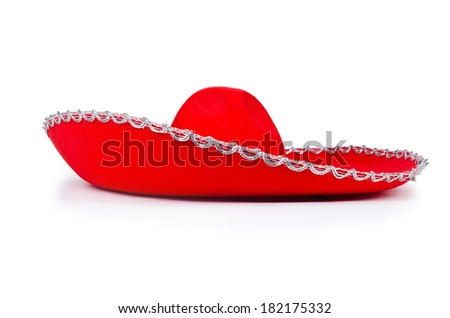Red mexixan sombrero hat isolated on white - stock photo
