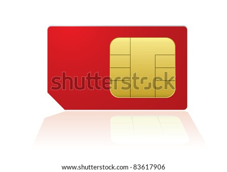 Red mobile phone sim with reflection in white background - stock photo