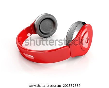 red modern headphones isolated on white background. 3d illustration - stock photo