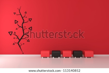 Red modern interior with abstract decoration - stock photo