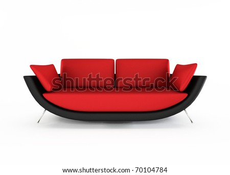 Red Modern sofa isolated on white background - stock photo