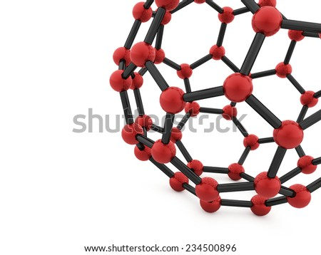 Red molecular mesh tube structure rendered - stock photo