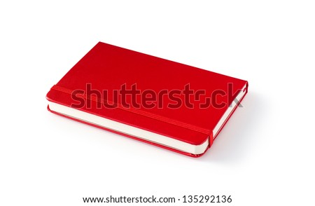 red Moleskine diary isolated on white background with shadow - stock photo