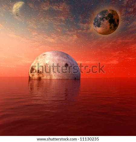 red moon and the planet- digital artwork