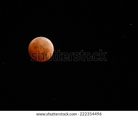 Red moon in total eclipse/Blood Moon/ Total eclipse of the moon on October 8, 2014 - stock photo