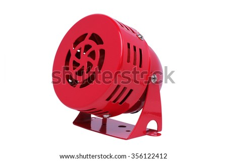 Red motor siren isolated on white background. - stock photo
