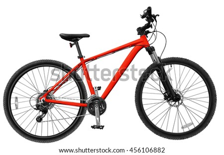 Red mountain bike /  bicycle on white isolated background