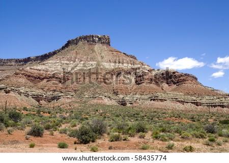 red mountains in the arizona desert area - stock photo