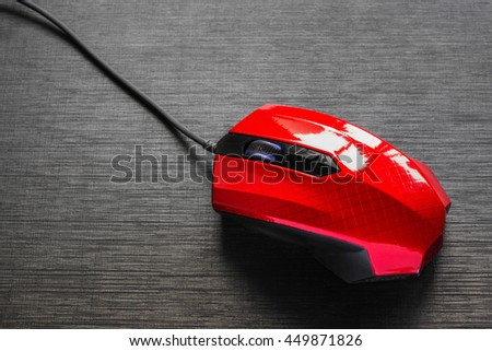 Red Mouse on white background,light effects - stock photo