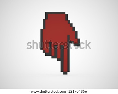 Red mouse pointer - stock photo