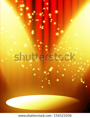red movie or theater curtain with a bright spotlight with glitters and sparkles - stock photo