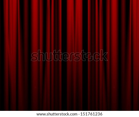 red movie or theater curtain with some folds in it - stock photo