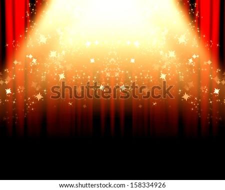 red movie or theater curtains with a bright spotlight on it - stock photo