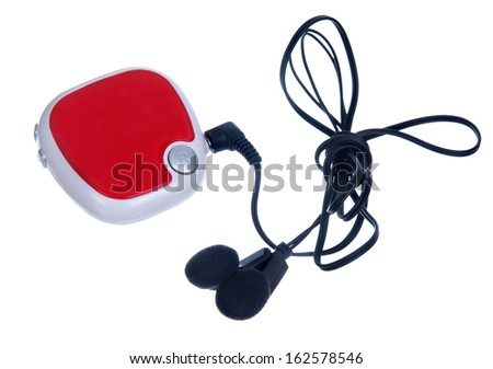 red mp3 player isolated on white - stock photo